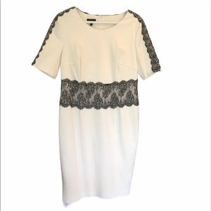 Escada off-white short sleeve dress w/ lace